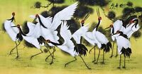 STUNNING ORIENTAL ASIAN ART CHINESE FAMOUS WATERCOLOR PAINTING-Crane birds lover