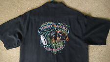 Tommy Bahama Mens Silk Shirt Embroidered Black