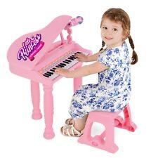 Bambine Bambini Musicale Pianoforte Tastiera Giocattolo Elettronico Rosa con microfono Sgabello MP3