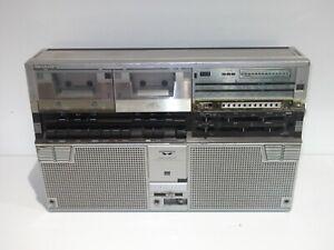 SHARP GF-555E GHETTOBLASTER BOOMBOX TWIN CASSETTE PLAYER RETRO VINTAGE 1980s