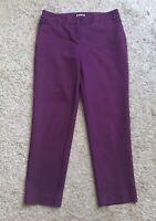 "EXPRESS Womens Size 0 R Purple Cropped Capri Editor Dress Pants 25.5"" Inseam"