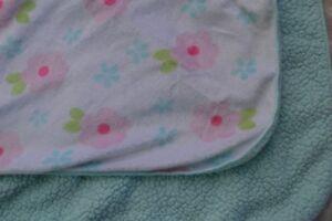 Circo Floral Baby Blanket Pink Aqua Blue Sherpa Underside Flowers Security Lovey