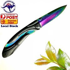 Titanium Fade (Rainbow) blade folding knife hunting knife Camping