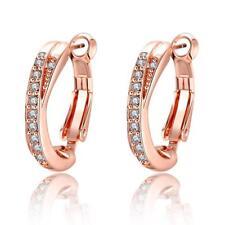 Women's 18K Rose Gold Plated Cubic Zircon Hoop Earrings Nickel Free