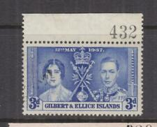 GILBERT & ELLICE ISLANDS, 1937 Coronation, 3d. Blue, Sheet # 432, used.