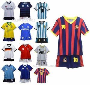 Football Kit T-Shirt Shorts Set Top Vest Summer New Boys Girls Size 2-14 Years