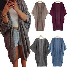 Womens Summer Coat Casual Oversized 3/4 Sleeve Sweater Polyamide Cardigan Jacket