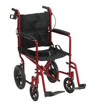 Wheelchair Lightweight Transport Folding Portable Travel Hand Breaks Safe Red