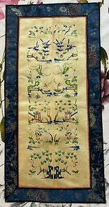 Antique Chinese Qing Dynasty Sleeve Band For Robe  Hand Embroidery Silk 11 X 23