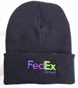 FedEx Ground Black Knit Beanie Winter Hat Toque Skull Cap Cuffed 100% ACRYLIC