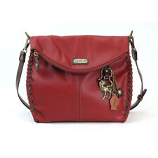Chala Charming Crossbody Bag with Zipper Flap Top and Slim Cat keyChain (red)