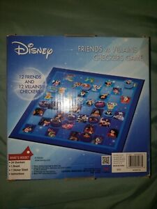 DISNEY FRIENDS VS VILLAINS CHECKERS GAME CLASSIC AND MODERN CHARACTERS FOLD OUT