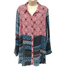 Jessica Simpson Women's Print Button Front Tunic/Dress XL Blue/Pink/Multi