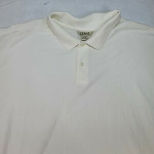 LL Bean Men's Carefree Double L Polo Beige Short Sleeve Size XXL Tall
