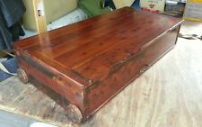 Unusual antique Shaker inspired trundell under  bed  cedar chest wooden wheels