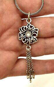 Brighton Flower Crystal NECKLACE Tassel Silver Reversible Necklace RETIRED