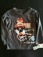 New w/Tag Paul Frank Boys T-Shirt Size 3T Grey Monkey Hockey Slap Shot FREE SHIP