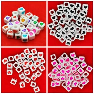 100 × 6/7mm White Black Red Pink Heart Letter Pony Cube Bead Alphabet Dummy Clip