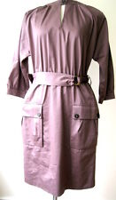 ESCADA Long Sleeve Chocolate Brown Cotton Dress Size 40