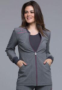 Heather Grey Cherokee Scrubs Infinity Zip Front Jacket CK340A HTGR Antimicrobial