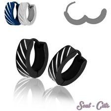 1 Pair Stainless steel creoles Clips Hoop earrings Huggie black blue silver