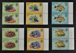 BELIZE STAMPS 6 PAIRS SEA CREATURES FISH ECT U/M   (L12)