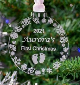 Personalised Baby's First Christmas Bauble / Decoration. Acrylic, Tree Clear
