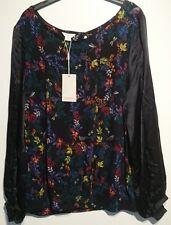 monsoon lena freya top black floral birds uk 18  bnwt slik sleeves