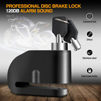 Motorcycle Bike 120dB Alarm Security Brake Disc Wheel Lock Safety & 2 Keys Black