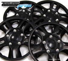 "4pc Qty 4 Pop On Wheel Cover Rim Skin Cover, 15"" Inch #006 Hubcap Matte Black"