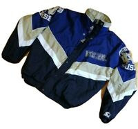 Vintage 90s STARTER Notre Dame Fighting Irish Spell Out Blue Gold Jacket Medium