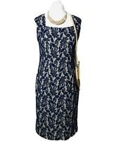 LONG TALL SALLY floral lacy evening dress UK size 14 sleeveless stretch wedding