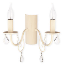 CHANDALIER 2 ARMS NEO CLASSIC WALL LIGHT - ANTIQUE WHITE - DINING BEDROOM VELIO