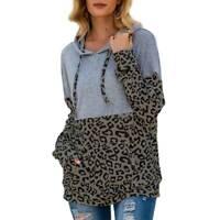Fall Women Ladies Hooded Sweatshirt Long Sleeve Pullover Leopard Patchwork Tops
