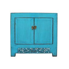 Chinese Distressed Bright Turquoise Blue Foyer Console Table Cabinet cs4977