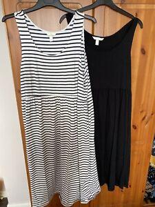 H&M Maternity Dresses Size L 16/18 Black Stripey