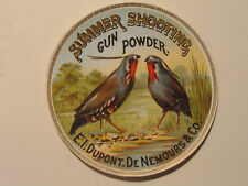 Vintage Summer Shooting Gun Powder Label (DuPont) Original