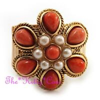 Regency Baroque Vintage Gold Coral Orange Pearl Flower Cocktail Statement Ring