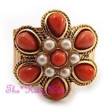 Regency Baroque Vintage Gold Coral Orange Pearl Flower Cocktail Statement Ring