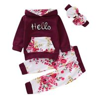 Toddler Infant Baby Girls Outfits Clothes Romper Tops Pants Headband 3PCS Set