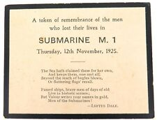 .RARE 1925 SINKING BRITISH SUBMARINE M1 MEMORIAL CARD.
