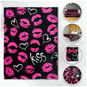 Pink Kisses Plush Blanket 50x60 Kiss Kiss Blanket Girl's Throw Blanket