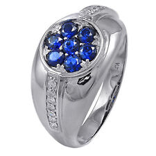 De Buman 14K White Gold 1.09ct Genuine Sapphire and Diamond Ring, Size 9