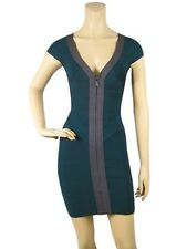 New Genuine Bandage Dress Deep Dark Green Deep V Neck Size 10 12