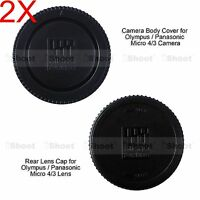 2x M4/3 Rear Lens Cap +Micro 4/3 Camera Body Cover for Olympus PEN EP5 EPL1 EPL3