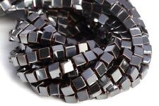 "4MM Black Hematite Cube Grade AAA Natural Gemstone Loose Beads 7.5"""