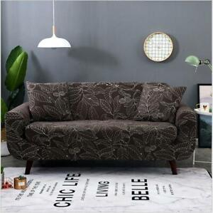 Coffee Color Leaves Print Sofa Covers 1/2/3/4-seater Armchair Couch Slipcovers