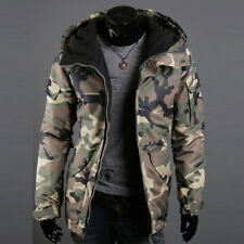 Mens Warm Camouflage Jacket Hooded Winter Military Zipper Parka Coat Overcoat