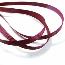 "Grosgrain Ribbon 6mm (1/4"" inch) - 35 Plain Coloured Double Sided/Faced Thin"