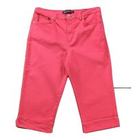Gloria Vanderbilt Womens Jeans size 14 Pink Capris Cropped Cuffed Cotton Stretch